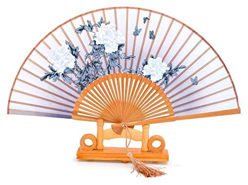 Mqmh Estilo Chino Ventilador de Mano Estilo Chino Regalo Regalo de Boda Regalo de Seda bambú Plegable Ventilador peonía Flor Tassel Seda Ventilador