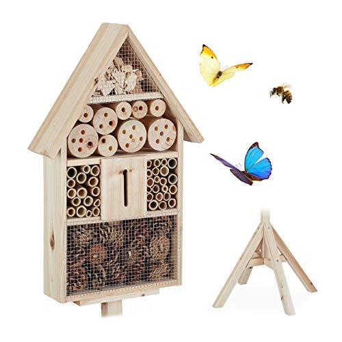 Relaxdays Insektenhotel Haus auf Ständer, Nisthilfe für Garten, Bienenhotel Wildbienen, Holz, HBT: 140x47x47cm, natur