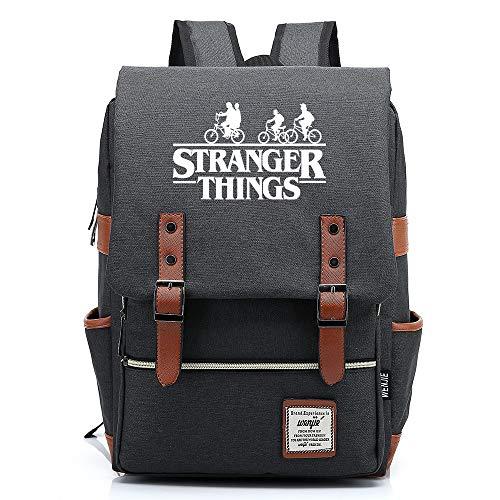 Stranger Cosas Mochila del Personaje con el Bolsillo del Ordenador portátil Stranger Cosas de la Escuela de los niños Mochila Multicolor Mochila 43CMX29CMX13.5CM Gris Oscuro