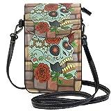 Lawenp Bonito bolso bandolera de cuero pequeño con calavera y rosas, monedero con bloqueo RFID, monedero, bolsos de teléfono para viajes, niñas, mujeres