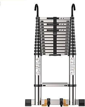 ZR- Escalera Telescópica,Escalera Recta Plegable Para Hogar-Se Puede Subir Bajar Escaleras, Escalera Ingeniería Escaleras Mecánicas Aluminio Con Gancho -Fácil de almacenar y fácil de llevar: Amazon.es: Hogar