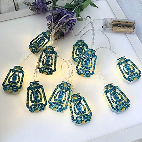 Myya Linterna LED Linterna Eid Mubarak Secuencia De Luces Casa Secuencia De Luces Estrellas De Colores Luna Linternas Colgantes Islam Musulmán Ramadán Luces Decoración De Fiesta