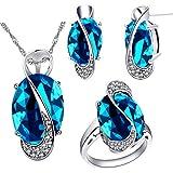 Uloveido Hembra Grande Ovalado Collar de Cristal Azul Claro Charm Gargantilla Collar Post Stud Pendientes Infinity Rings Dama de Honor Conjunto de Joyas para Mujeres T472