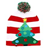 OurWarm LED Light-up Christmas Hats Xmas Santa Ugly Hat Beanies 10 Colorful Lights Flashing Cap for New Year Party Red