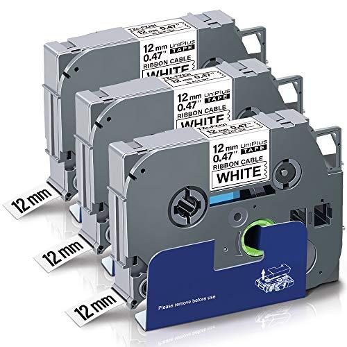 UniPlus Tze Flessibile Nastro Compatibile per Brother Tze-Fx231 TzeFx231 Laminato Nastro per Etichette Flessibile per Brother PTH101C PTH110 PTH105 PTP750W,12mm x 8m, Nero su Bianco, 3 Pz
