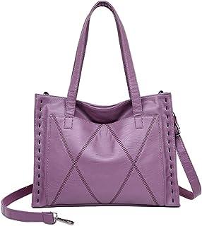 FENICAL Tote Purse Women Handbag PU Leather Top Handle Purse for Women Ladies (Dark Red)