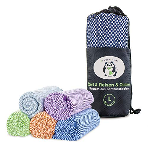 bamboo friends Bambus Reisehandtuch Handtuch – federleicht, super saugfähig, antibakteriell & schnelltrocknend – Bambushandtuch für Reisen Camping – 80x130 cm (orange, M)