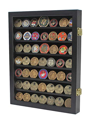 Military Medal Challenge Coin Display Case Cabinet Rack Wood Cabinet, Glass Door (COIN46-BL)