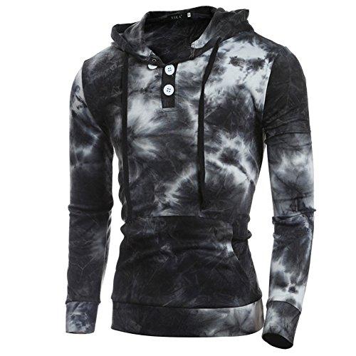 Rmine Herren Hoodie Sweatshirt Kapuzenpullover T-Shirt mit Kapuze (L, Schwarz 2)