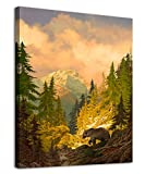 arteWOODS Canvas Wall Art Decor Grizzly Bear for Bedroom Living Room Forest Rocky Mountain Modern Canvas Artwork Contemporary Picture Prints for Office Wall Decoration Framed Ready to Hang 12' x 16'