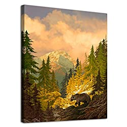 arteWOODS Canvas Wall Art Decor Grizzly Bear for Bedroom Living Room Forest Rocky Mountain Modern Canvas Artwork Contemporary Picture Prints for Office Wall Decoration Framed Ready to Hang 12 x 16