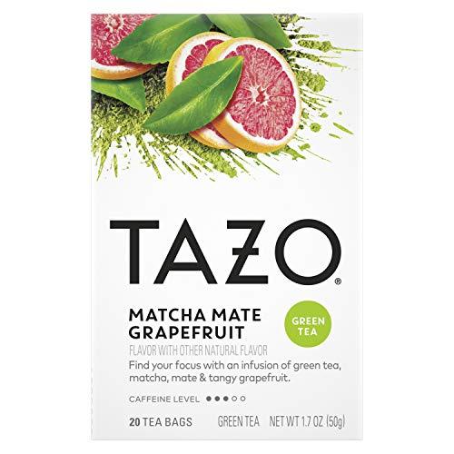 Tazo Matcha Mate Grapefruit Tea Bags, Green, 20 Count (Pack of 6)