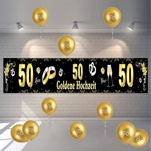 FORMIZON 50-jähriges Jubiläum Hochzeitstag Party Deko, Goldene Hochzeit Feier Deko Set, Dekorationen Banner Hintergrund, Silver Ballons, Verwendet für Goldene Hochzeit Feier Jubiläum Party