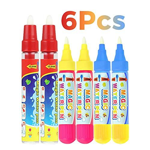 wonuu Magic Replacement Water Pen for Aqua Magic Water Doodle Mat Water Doodle Pens for Girls Toddlers Kids Children (Pack of 6)