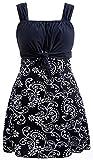 Wantdo Traje de Baño de Cintura Alta Falda de Verano Traje de Baño de Una Pieza Elegante Traje de Baño de Una Pieza para El Mar y La Playa Vestido Floral para Mujer Azul Oscuro 52-54