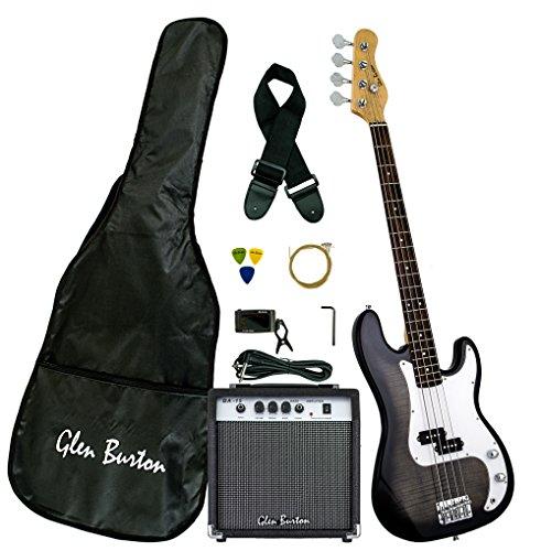 Glen Burton GB150BCO-BK Electric Bass Guitar, SG-Style, Black