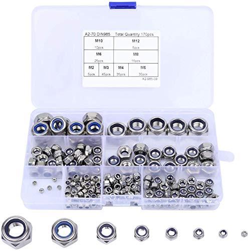 HAUSPROFI locknuts 170 pieces 304 stainless steel self-locking lock nut nylon hexagon nuts nuts assortment screw kits M2 M3 M4 M5 M6 M8 M10 M12