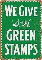 グリーンスタンプを贈る メタルポスター壁画ショップ看板ショップ看板表示板金属板ブリキ看板情報防水装飾レストラン日本食料品店カフェ旅行用品誕生日新年クリスマスパーティーギフト