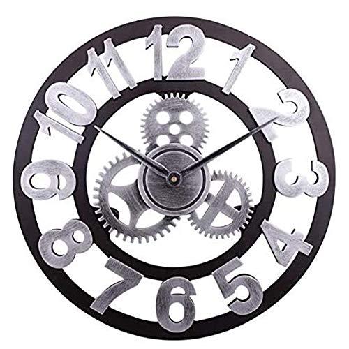 HOSTON Vintage Grande Rrologio da Parete 40CM 3D Design Moderno Legno Orologio da Parete Silenzioso,Orologio da Parete Digitale Shabby per Cucina, Soggiorno, Ufficio(Numeri Arabi Argento, 40cm)