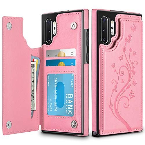 HianDier Wallet Case for Galaxy Note 10 Plus Slim Protective Case with Credit Card Slot Holder Flip Folio Soft PU Leather Magnetic Closure Cover for 2019 Samsung Galaxy Note 10+ 5G, Pink