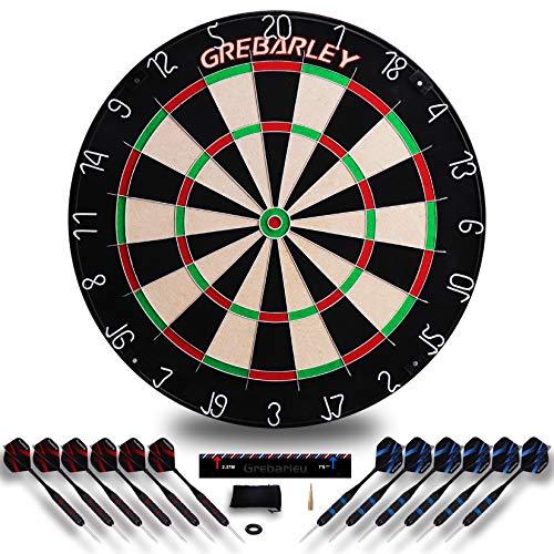 Grebarley Dartscheibe Kork Offizielles mit Pfeilen Turniermaß Dart Scheibe Dartboard Steeldartscheibe Steeldart Dartscheiben Set Schutz