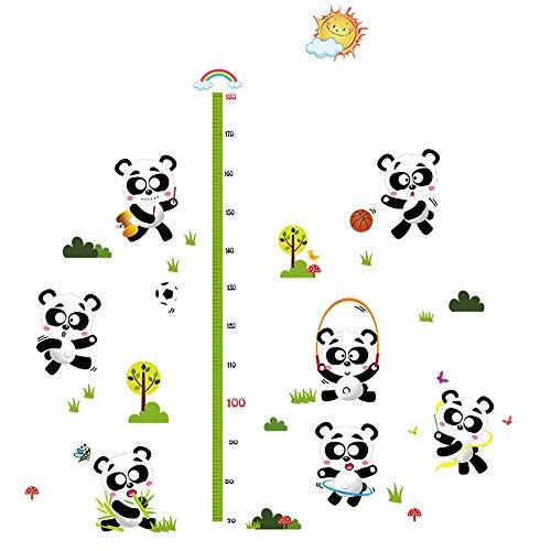 Winhappyhome Petits Pandas Enfants Mesure De Hauteur Decal Growth Chart Stickers Muraux pour Chambre Fond Salon Café Nursery Amovibles Art Decor Stickers