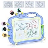 DUTISON Magnetische Maltafel Zaubertafeln für Kinder Löschbar Magnettafel Zaubermaltafel Zeichenbrett mit 3 Briefmarken für 3 4 5 Jahre alt (Blau)