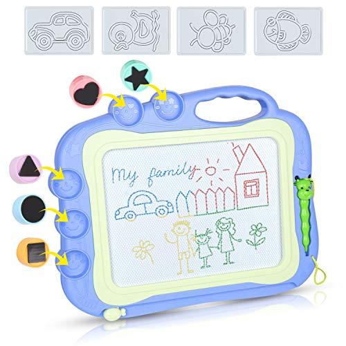 DUTISON Magnetische Maltafel Zaubertafeln für Kinder Löschbar Magnettafel Zaubermaltafel Zeichenbrett mit 5 Form Stempeln und eine Reihe von Formen (Blau)