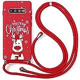 Yoedge Coque Collier pour Samsung Galaxy S10e, Rouge Silicone Etui avec Motif Cerf de Noël, Cordon...