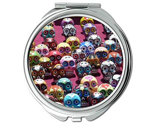 Yanteng Spiegel, Kompaktspiegel, Mexiko Schädel Volkskunst, Taschenspiegel, 1 X 48X Vergrößerung