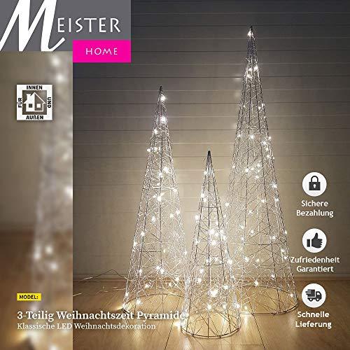 3-Teilig Led Dekorative Beleuchtung Silber-Kegel Advent Pyramide Kegel