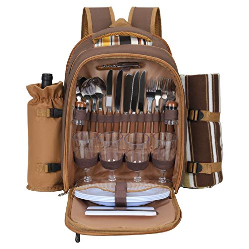 TTLIFE Picnic Backpack for 2/4 Person Picnic Bag Backpack Set with Insulated Leakproof with Blanket Wine Holder Bottle Opener Plates and Cutlery Set Multifunctional Camping Bag for Outdoor Hiking