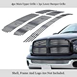 APS Compatible with Ram 2002-2005 Stainless Steel Polished Chrome 8x6 Horizontal Billet Grille Insert Combo D67998S