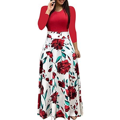 Yuwegr Mode Damen Kleider Langarm Floral Boho Print Lang Maxi Frauen Kleid Punkt Casual Dress 3 Farbe S-XL (S, Rot)