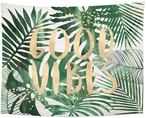 aksldf Tapestry Green Beach Good Vibes Quote Tropical Leaves Wall Collage Home Decor Wall Hanging for Living Room Bedroom Dorm 150x130cm/59 51inches