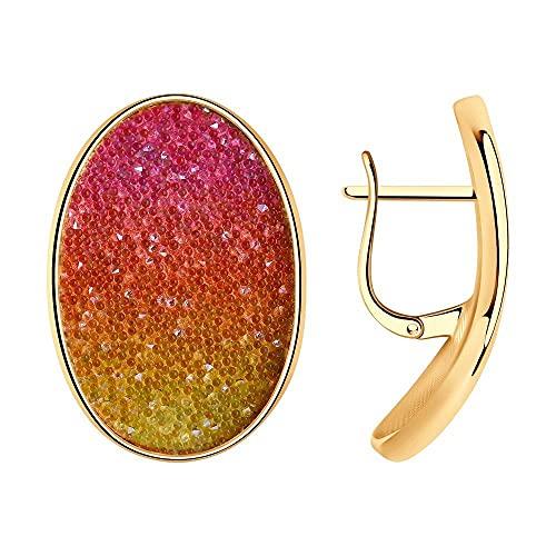 Mirkada - Pendientes de plata chapados en oro con cristales Swarovski, multicolor