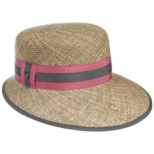 Lierys Mialia Schute Strohhut Sommerhut Sonnenhut Damenhut Seegras-Hut Damen - Made in Italy mit Schirm, Ripsband Frühling-Sommer - One Size pink