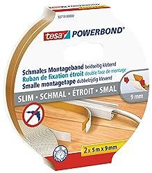 tesa doppelseitiges Montageband Powerbond SCHMAL, 2x 5m x 9mm