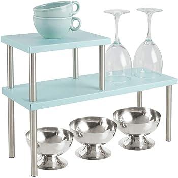 mDesign Estantería metálica con 2 niveles – Baldas de cocina estrechas para encimeras y armarios – Estantes de