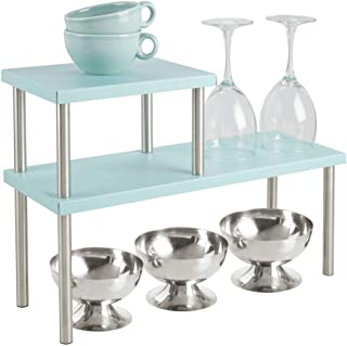 mDesign Modern Metal 3-Tier Kitchen Countertop and Pantry Cabinet Storage Shelf Organizer Stand for Storing Mugs, Bowls, Spices, Baking Supplies - Free Standing, 2 Shelves - Mint Green/Brushed