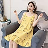Handaxian Ärmelloses Nachthemd aus 100% Baumwolle Lady O-Neck Cartoon Print Nachthemd Weicher, bequemer, lockerer Pyjama Sommerrosa Rot -2034_M