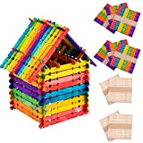 Alphatool 500 Pcs Colorful Sawtooth Wood Craft Sticks- Assorted Color and Natural Wooden Popsicle Sticks Jumbo Ice Pop Treat Sticks Bulk for DIY Craft Project, Classroom Creative Designs (4.5 Inch)