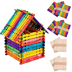 Colorful Sawtooth Wood Craft Sticks- Assorted Color and Natural Wooden Popsicle Sticks