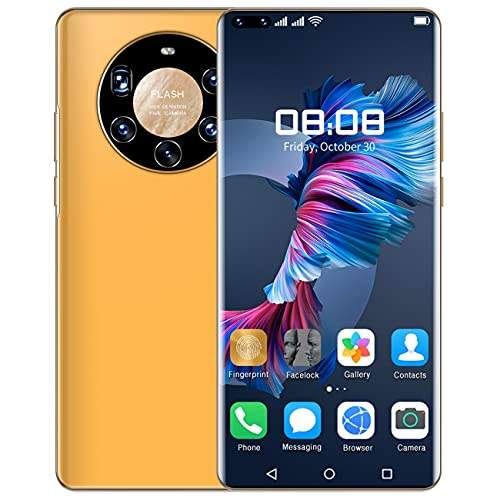 HUALUDA Mate 40 Pro+ Gaming Mobile Phones, Unlocked Android Smartphone with Face Recognition Function, 12GB +512GB Storage Cell Phones (Color : Orange Yellow)