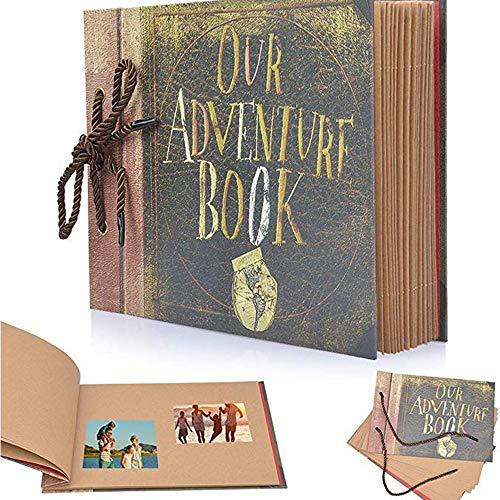 Our Adventure Book,DIY Fotoalbum 80 Seiten Kraft Paper,19 cm x 27 cm Fotoalbum Zum Selbstgestalten,Hochzeits gästebuch, Fotoalbum mit Fotoecke, als Valentinstagsgeschenk für Paare und Freunde