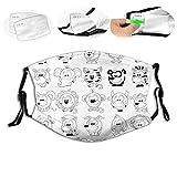 Assortment of Cartoon Style Animals Cat Zebra Girraffe Pig Panda Monkey Animal Fun,Reusable Face Mask Balaclava Washable Outdoor Nose Mouth Cover for Men and Women