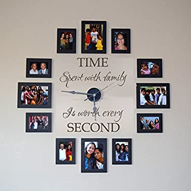 Family Clock Wall Decal Living Room Vinyl Decor Vinyl Clock Decal Murals Family Wall Quotes Time Spend With Family Saying (22x19  Black)