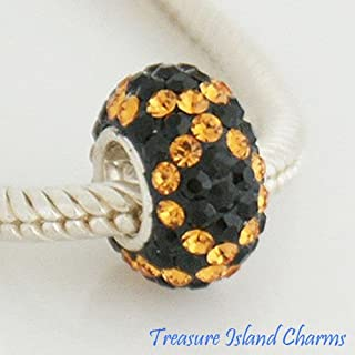Yellow Topaz on Black CZ Crystal 925 Sterling Silver European Bead Charm Crafting Key Chain Bracelet Necklace Jewelry Accessories Pendants