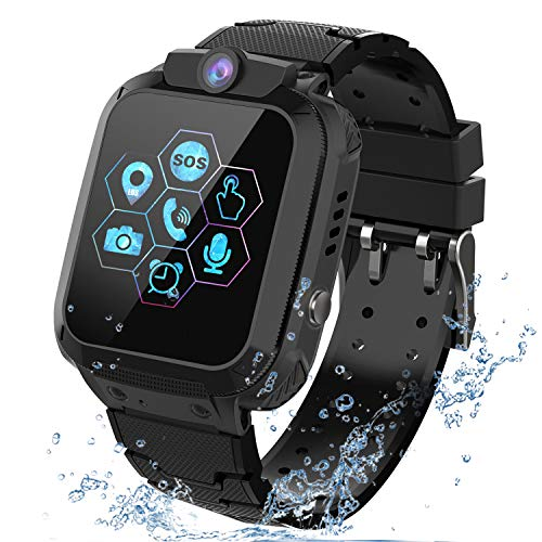 PTHTECHUS Kids Waterproof Smartwatch Phone - Children Touchscreen Watch Position LBS Locator with Call Voice Chat Games Alarm Clock SOS Wristband for Boys Girls Grade Student Gifts (Black)