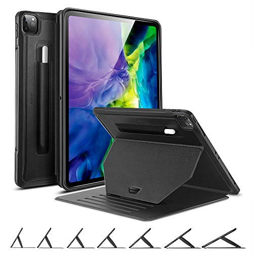 ESR Sentry Stand Case for iPad Pro 11 2020 & 2018 [7 Convenient Stand Angles with Strong Magnet for Hanging] [Rugged Protective Cover with Pencil Holder] [Auto Sleep/Wake] – Black